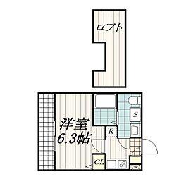 千葉県千葉市花見川区検見川町3の賃貸アパートの間取り