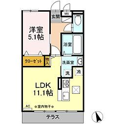 京王相模原線 南大沢駅 徒歩15分の賃貸アパート 1階1LDKの間取り