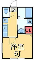 JR京葉線 蘇我駅 徒歩10分の賃貸アパート 1階1Kの間取り