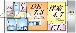 兵庫県神戸市須磨区行幸町4丁目の賃貸アパートの間取り