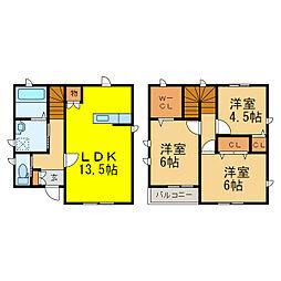 [一戸建] 栃木県小山市西城南4丁目 の賃貸【/】の間取り