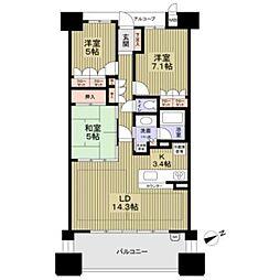 堺東ヴューモ号室12階Fの間取り画像
