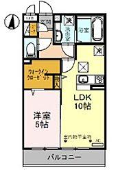 JR武蔵野線 越谷レイクタウン駅 徒歩14分の賃貸アパート 3階1LDKの間取り