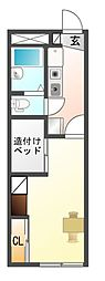 愛知県豊川市八幡町東赤土の賃貸アパートの間取り