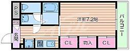Osaka Metro御堂筋線 江坂駅 徒歩16分の賃貸マンション 1階1Kの間取り