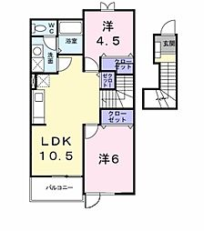 愛知県豊田市桝塚東町西郷前の賃貸アパートの間取り