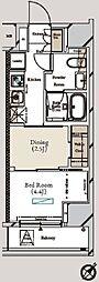 ミュプレ月島 9階1DKの間取り