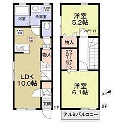 京王線 東府中駅 徒歩7分の賃貸テラスハウス 1階2LDKの間取り