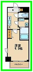小田急小田原線 経堂駅 徒歩8分の賃貸マンション 8階1Kの間取り