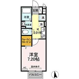 セジュール上野浦 II 2階1Kの間取り