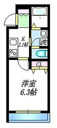 JR山手線 駒込駅 徒歩4分の賃貸マンション 1階1Kの間取り