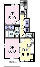 神奈川県綾瀬市蓼川2丁目の賃貸アパートの間取り