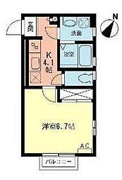 神奈川県横浜市青葉区美しが丘3丁目の賃貸アパートの間取り