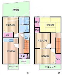 [テラスハウス] 大阪府箕面市桜井3丁目 の賃貸【/】の間取り