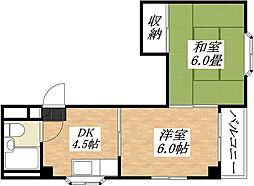 平野西コスモハイツ[2階]の間取り