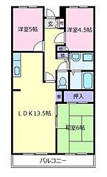 大阪府松原市新堂2丁目の賃貸マンションの間取り