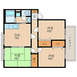 ピュアナハート A棟[1階]の間取り