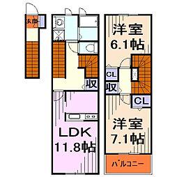 埼玉県川口市柳崎1丁目の賃貸アパートの間取り