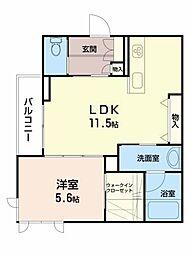シャーメゾン新坂通 1階1LDKの間取り