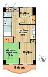神奈川県相模原市中央区光が丘2丁目の賃貸マンションの間取り