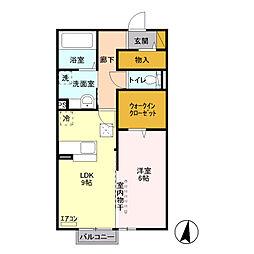 JR信越本線 宮内駅 徒歩15分の賃貸アパート 1階1LDKの間取り