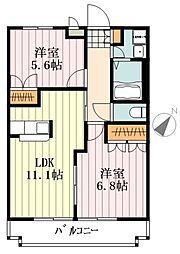 JR五日市線 武蔵五日市駅 徒歩7分の賃貸アパート 2階2LDKの間取り
