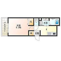 阪神なんば線 千鳥橋駅 徒歩13分の賃貸アパート 2階1Kの間取り