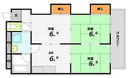 兵庫県神戸市須磨区大田町2丁目の賃貸マンションの間取り