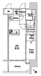 福岡市地下鉄七隈線 渡辺通駅 徒歩10分の賃貸マンション 8階1LDKの間取り