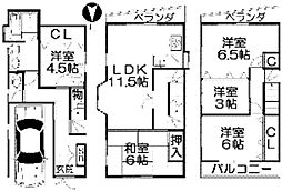 [一戸建] 大阪府枚方市東香里1丁目 の賃貸【/】の間取り