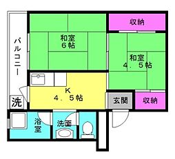 ビレッジハウス十王堂[1-205号室]の間取り