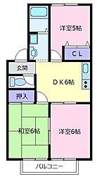 大阪府松原市天美南2丁目の賃貸アパートの間取り