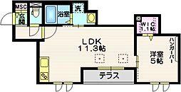 東急目黒線 西小山駅 徒歩15分の賃貸マンション 1階1LDKの間取り