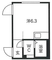 プロト渋谷神泉I 2階ワンルームの間取り