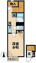 京王相模原線 京王多摩センター駅 徒歩18分の賃貸アパート 2階1Kの間取り