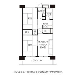 東京メトロ東西線 西葛西駅 徒歩16分の賃貸マンション 5階2DKの間取り