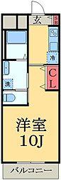 JR内房線 五井駅 バス6分 飛天坂下車 徒歩4分の賃貸マンション 2階1Kの間取り