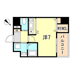 JR東海道・山陽本線 神戸駅 徒歩10分の賃貸マンション 5階ワンルームの間取り