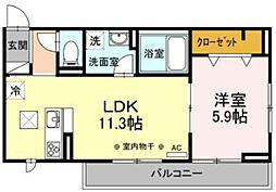 Lupinus B棟 ~ルピナス~ 3階1LDKの間取り
