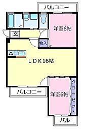 大阪府松原市高見の里5丁目の賃貸マンションの間取り
