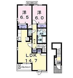 シャルム広栄町B[2階]の間取り