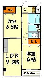 東武東上線 新河岸駅 徒歩5分の賃貸マンション 1階2LDKの間取り