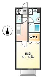 愛知県豊田市上原町上原の賃貸アパートの間取り