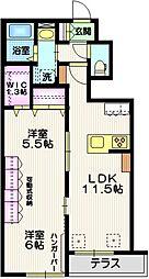 JR横須賀線 東戸塚駅 徒歩19分の賃貸マンション 1階2LDKの間取り