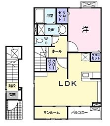 新潟県新発田市豊町1丁目の賃貸アパートの間取り