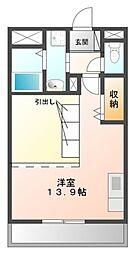 Osaka Metro御堂筋線 新金岡駅 徒歩10分の賃貸マンション 2階ワンルームの間取り