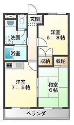 愛知県豊橋市中浜町の賃貸アパートの間取り
