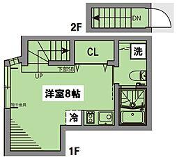 JR総武線 水道橋駅 徒歩12分の賃貸テラスハウス 1階ワンルームの間取り