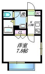 JR山手線 駒込駅 徒歩8分の賃貸マンション 1階1Kの間取り