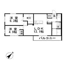 Lien 2階2LDKの間取り